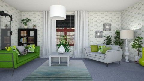 Green Grey White - Living room - by KarmaKitten