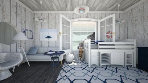 Navy blue - Rustic - Bedroom - by BluePandaBooth