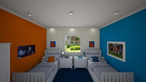 Blue and Orange - Kids room - by GraceRoomstyler