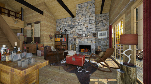 Cabin in the Woods - Rustic - Living room - by evahassing