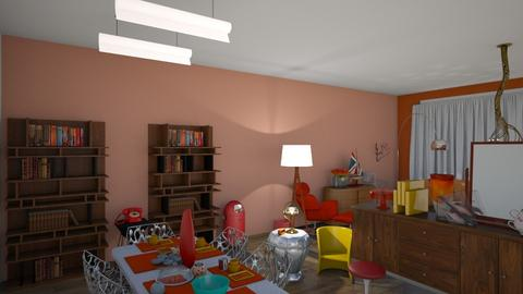 70s 80s style modern hous - Living room - by AngieDrws