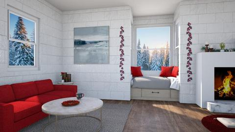 Red winter living room - Living room - by Louise Hedlund