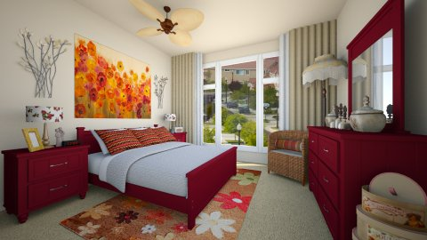Red Warm Bedroom - Eclectic - Bedroom - by LadyVegas08