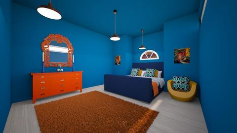 orange and blue bedroom - Bedroom - by Lucywrz