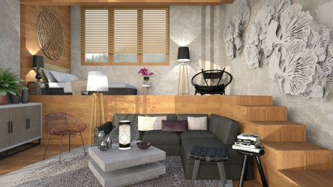 Wood steps - Living room - by Liu Kovac