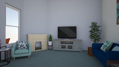 Blue green and white - Modern - Living room - by jessetobu