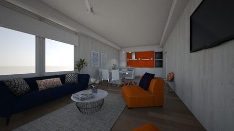 Orange and Blue - Living room - by SZdesing