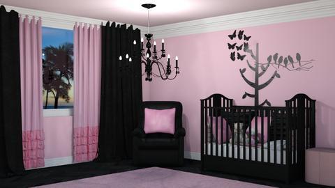 Black Pink Nursery - Kids room - by creato