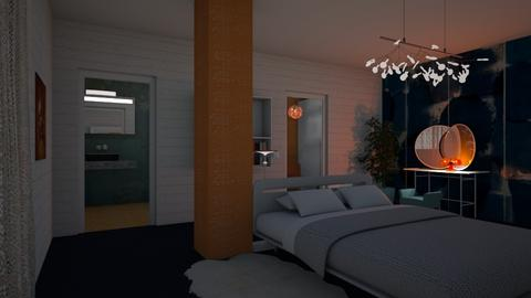 Orange blue bedroom - Feminine - Bedroom - by Tree Nut