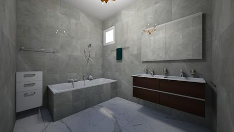 gray and white tile - Modern - Bathroom - by jade1111