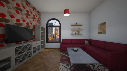 Red - Classic - Living room - by Twerka