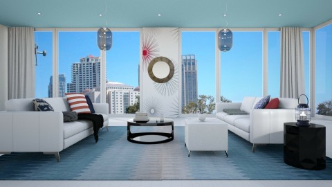 Red and blue living room - Modern - Living room - by bgrefs forum designs
