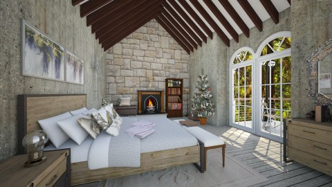 Cabin BR_1 - Rustic - Bedroom - by genevivechen