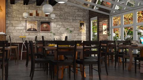 Courtyard Coffee Shop - Rustic - Dining room - by millerfam