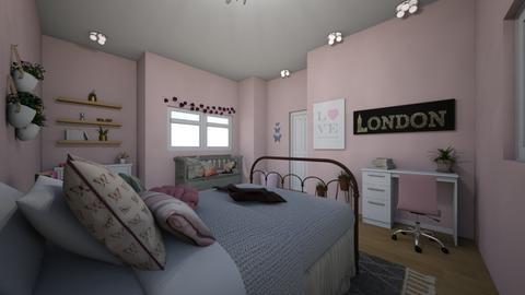 Pink Gray and White - Bedroom - by ellarowe224
