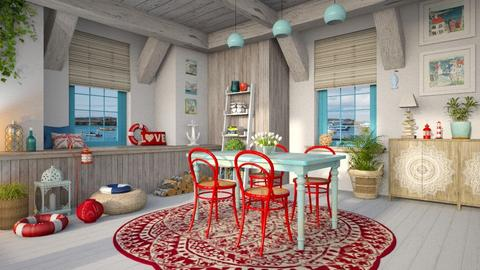 Blue and Red - Dining room - by LB1981