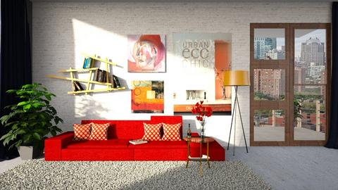 Red - Living room - by ZuzanaDesign