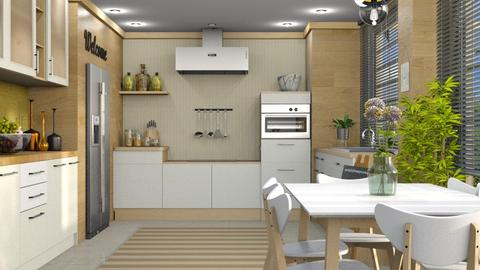 S_White and Wood - Kitchen - by Shajia