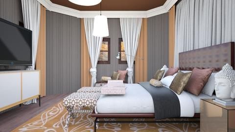 striped bedroom  - by chania