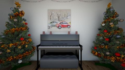 Christmas piano room - Classic - by Crazy cat girl 10