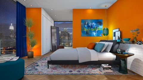 Orange_blue - Bedroom - by VALKHAN