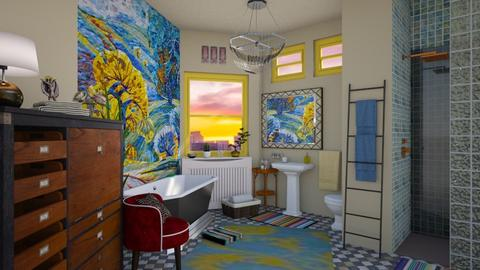 eclectic bath in the city - by Teri Dawn