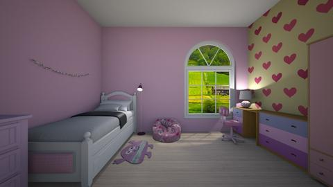 Pink hearts - Feminine - Kids room - by Twerka