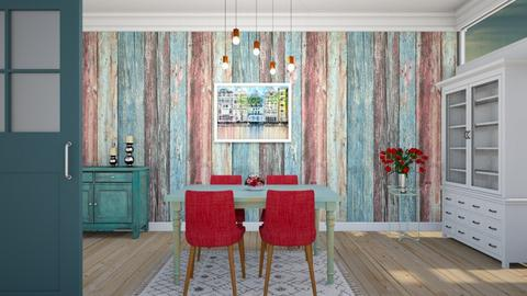 Blue and Red Dining - Dining room - by KimAlys