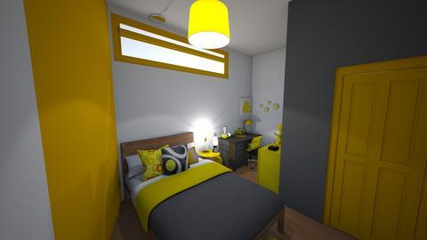 yellow_grey_white_teen - Modern - Bedroom - by jade1111