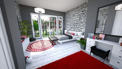 Red Bedroom 1 - Modern - Bedroom - by banusitki