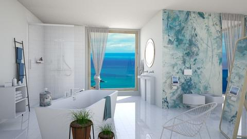 M_ White and blue - Bathroom - by milyca8