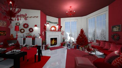 Red Christmas - Living room - by Sher02