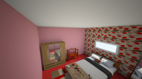 Master bedroom_Red - Modern - Bedroom - by sassysammy123