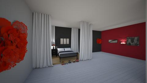red and black bedroom - Bedroom - by SelahH11
