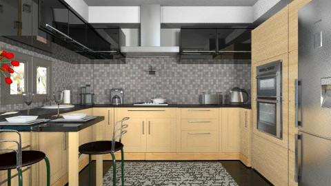 Gloss and wood - Kitchen - by XValidze