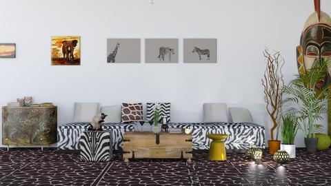 Afrique - Living room - by elephant in savanna