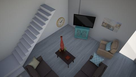 Turquoise and Orange 2 - Living room - by HistoryGeek07