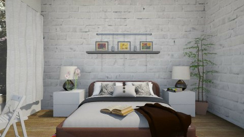 White Brick Wall - Bedroom - by so_lejit135