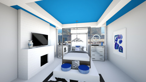 Sapphire and Linens - Glamour - Bedroom - by Addie Smooches