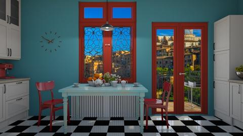 red and blue - Kitchen - by rickglassinteriors