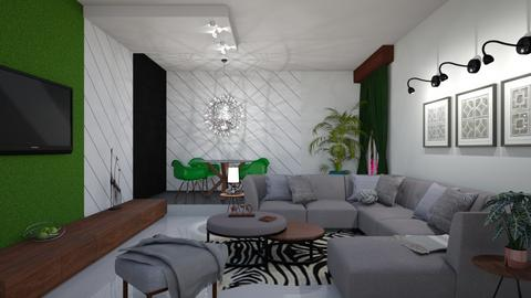 Green white and black - Living room - by snjeskasmjeska