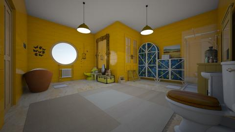 yellow bathroom - Bathroom - by BoutiqueGal101
