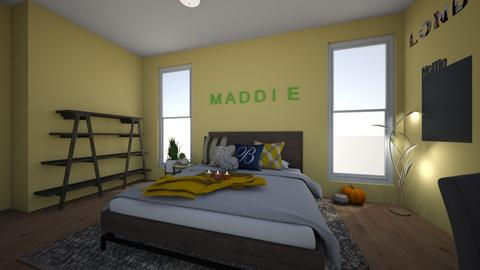 Yellow and Gray Room - Bedroom - by ellarowe224