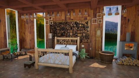 Log Cabin - Rustic - Bedroom - by InteriorDesigner111