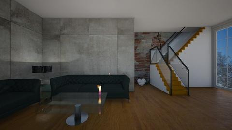 brick and glass - Living room - by interiorinterior