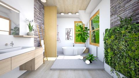 Sunlit Wood Attic Bathrm - Bathroom - by jkngel