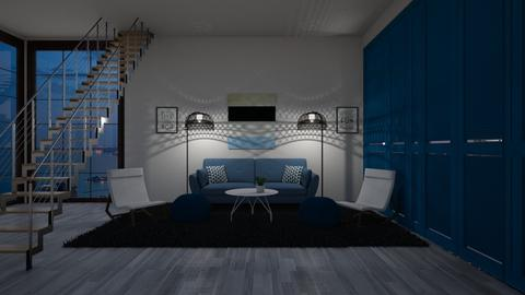 blue and black - Modern - Living room - by NEVERQUITDESIGNIT