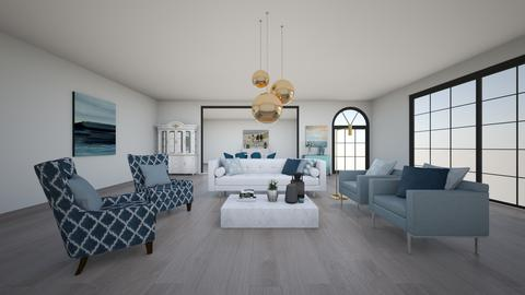 Blue monochromatic room - Living room - by EllaWinberg