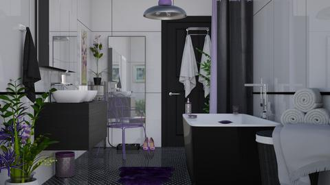 M_Black and Lilac - Bathroom - by milyca8