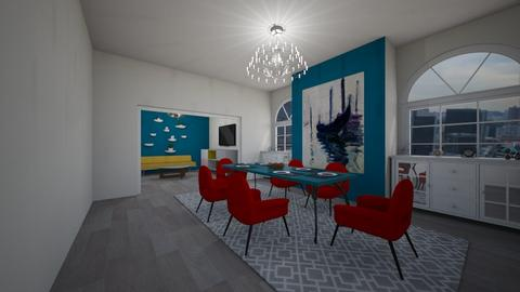 blue red dining room - Dining room - by Addie Grace